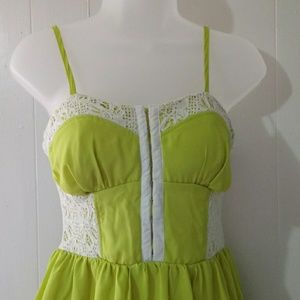 Hollywould Lime and Lace mini dress